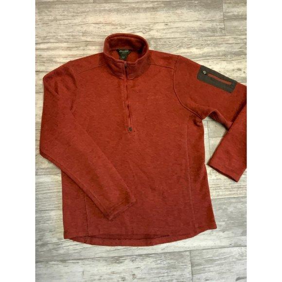 EDDIE BAUER 1/2 Zip Pullover Sweater Burnt Orange